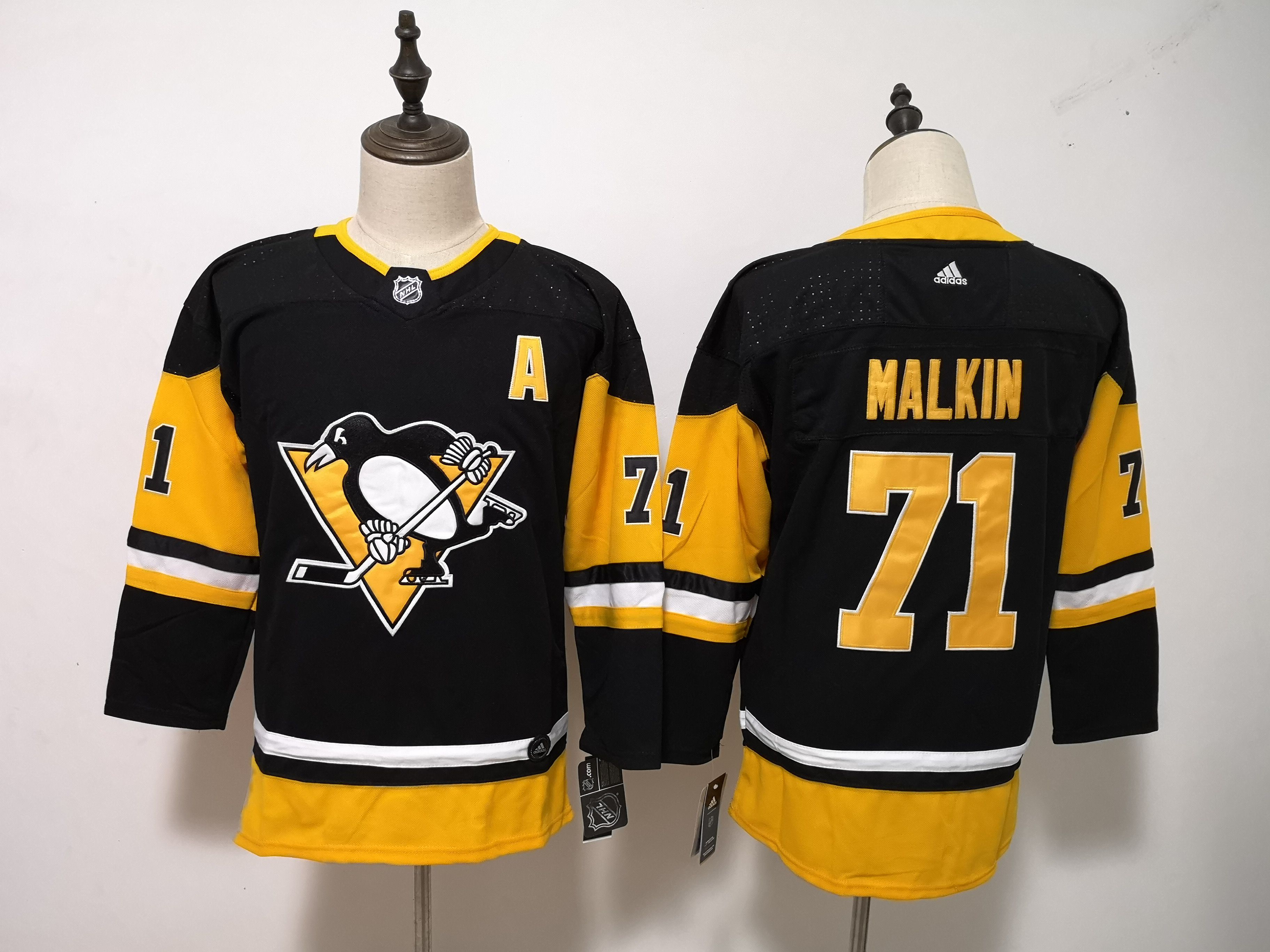 Women Pittsburgh Penguins 71 Malkin Black Hockey Stitched Adidas NHL Jerseys