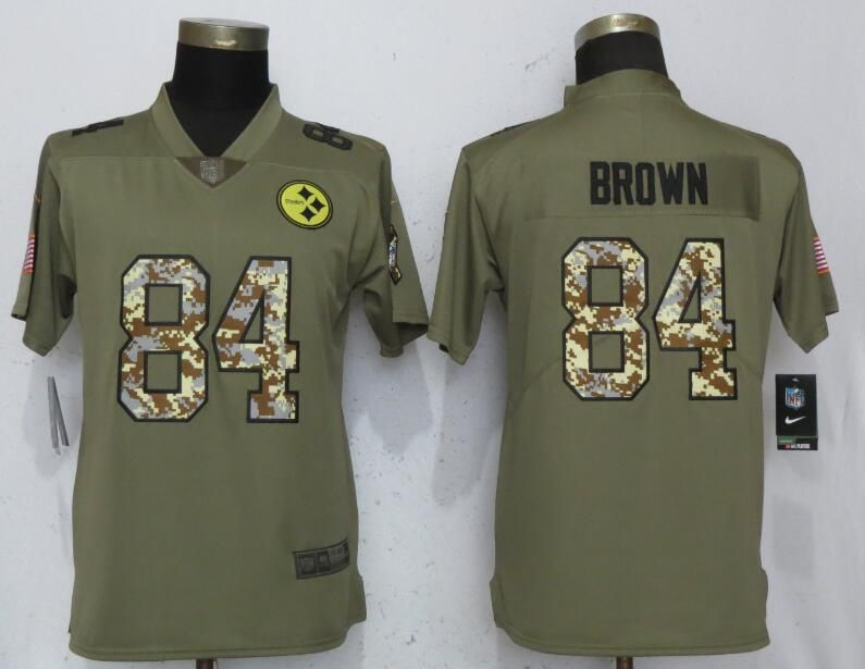Women Pittsburgh Steelers 84 Brown Olive Camo Carson Nike Salute to Service Player NFL Jerseys