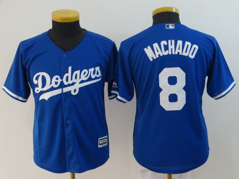 Youth Los Angeles Dodgers 8 Machado Blue MLB Jerseys