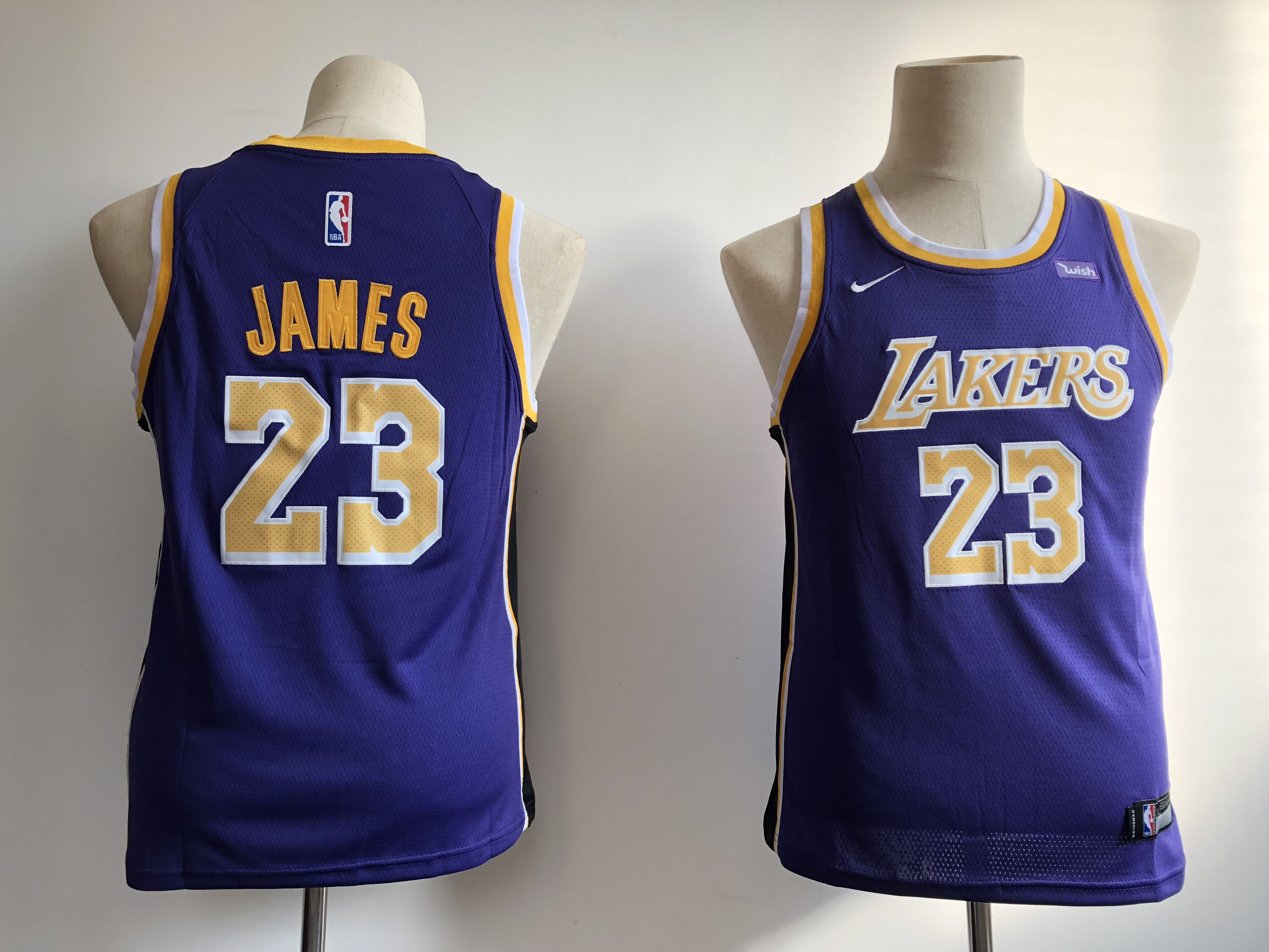 Youth Los Angeles Lakers 23 James purple Game Nike NBA Jerseys