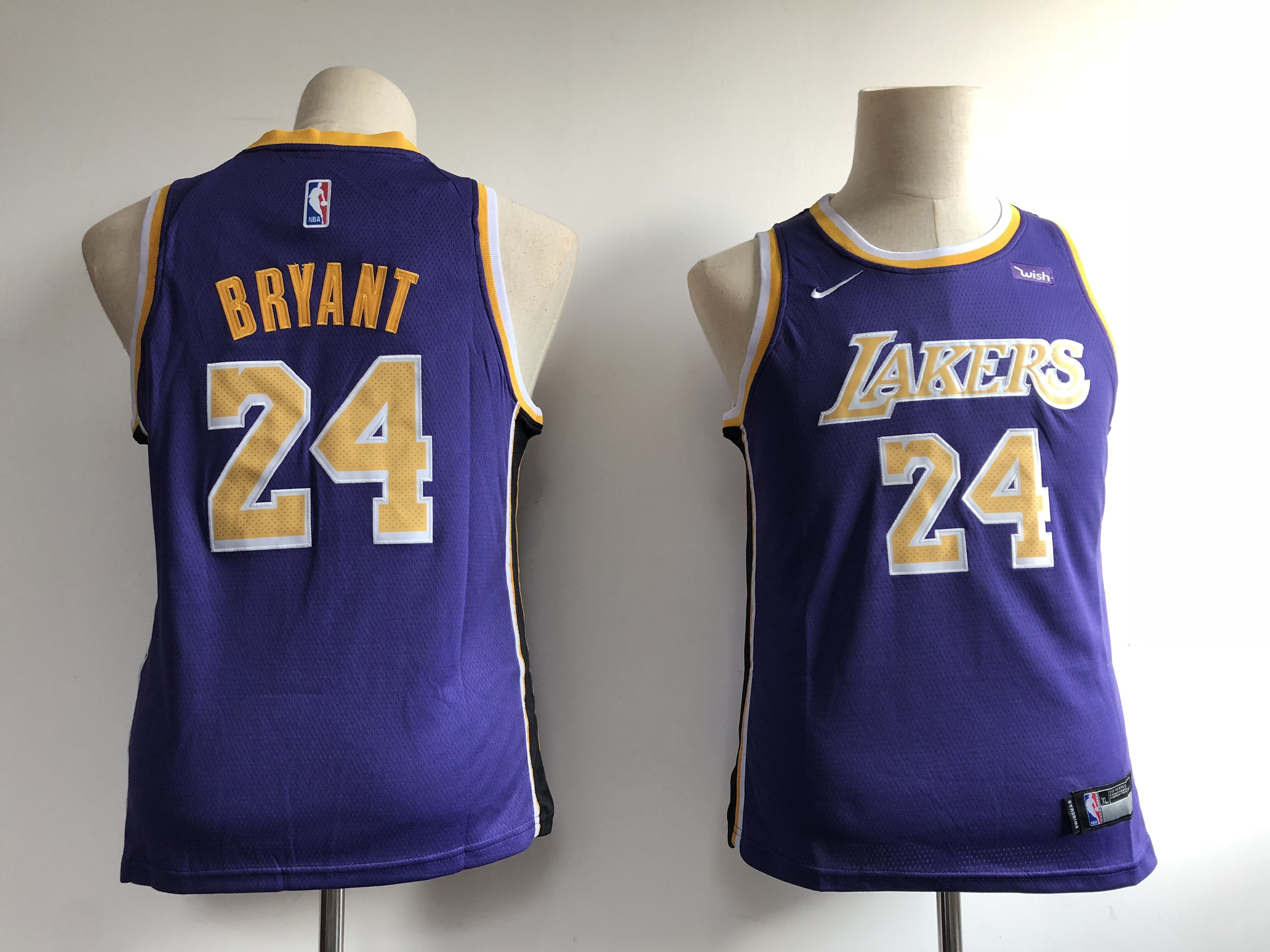 7a7ea36c464 Youth Los Angeles Lakers 24 Bryant purple Game Nike NBA Jerseys