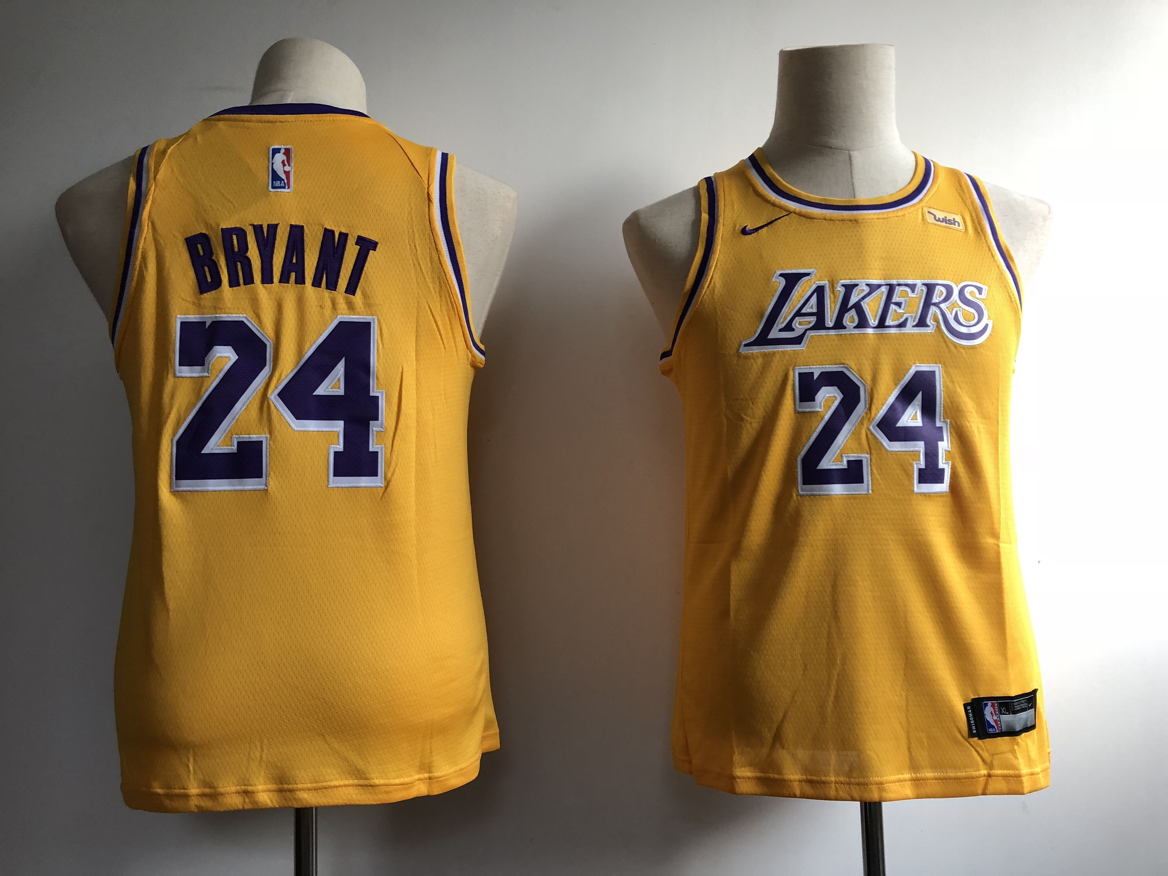 Youth Los Angeles Lakers 24 Bryant yellow Game Nike NBA Jerseys