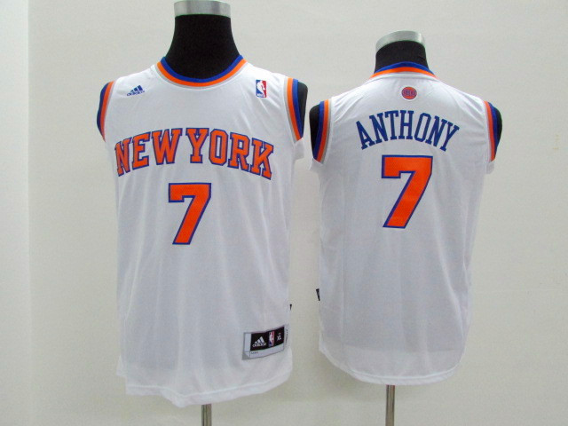Adidas NBA New York Knicks Youth 7 Anthony white jerseys