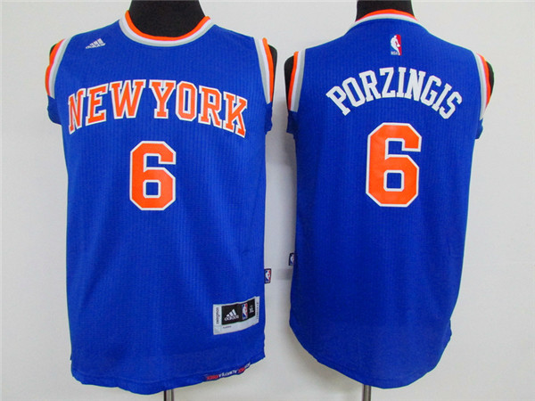 Adidas New York Knicks Youth 6 Porzingis blue NBA jerseys