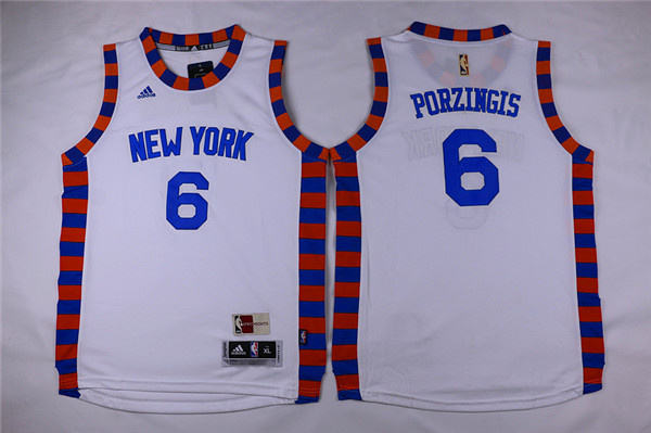 Adidas New York Knicks Youth 6 Porzingis white NBA jerseys