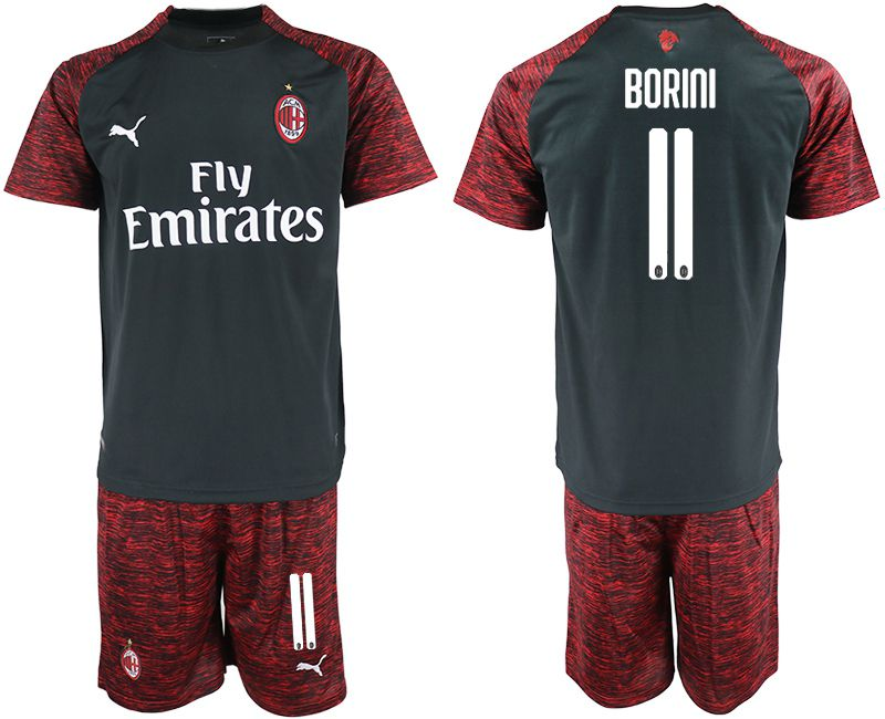 Men 2018-2019 club AC milan Second away 11 black soccer jerseys