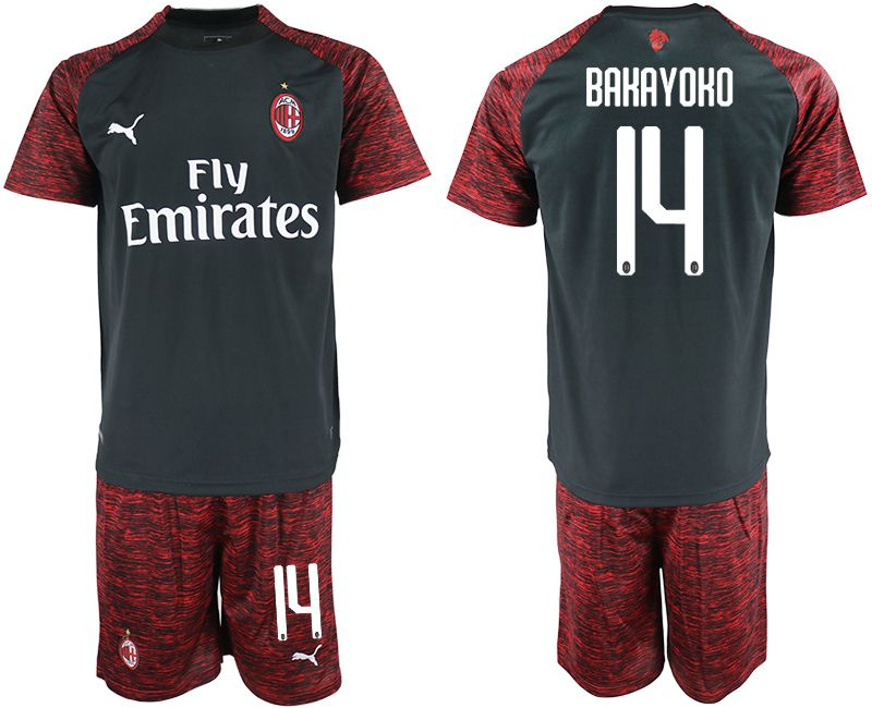 Men 2018-2019 club AC milan Second away 14 black soccer jerseys