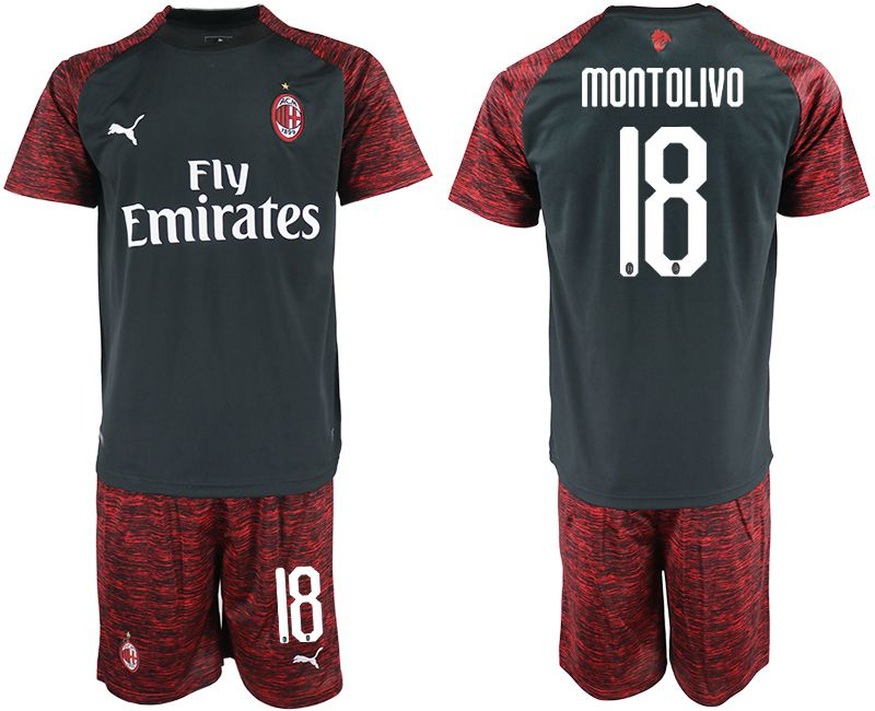 Men 2018-2019 club AC milan Second away 18 black soccer jerseys