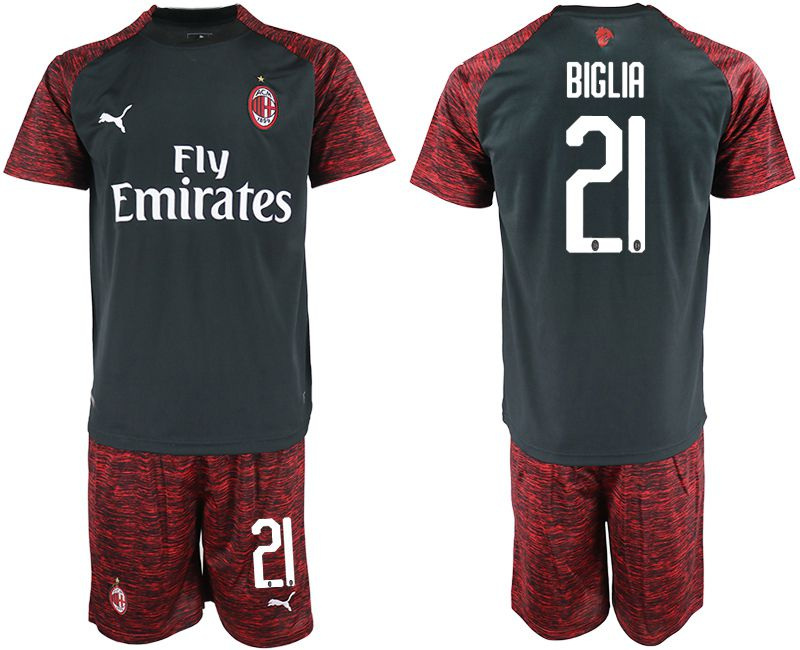 Men 2018-2019 club AC milan Second away 21 black soccer jerseys