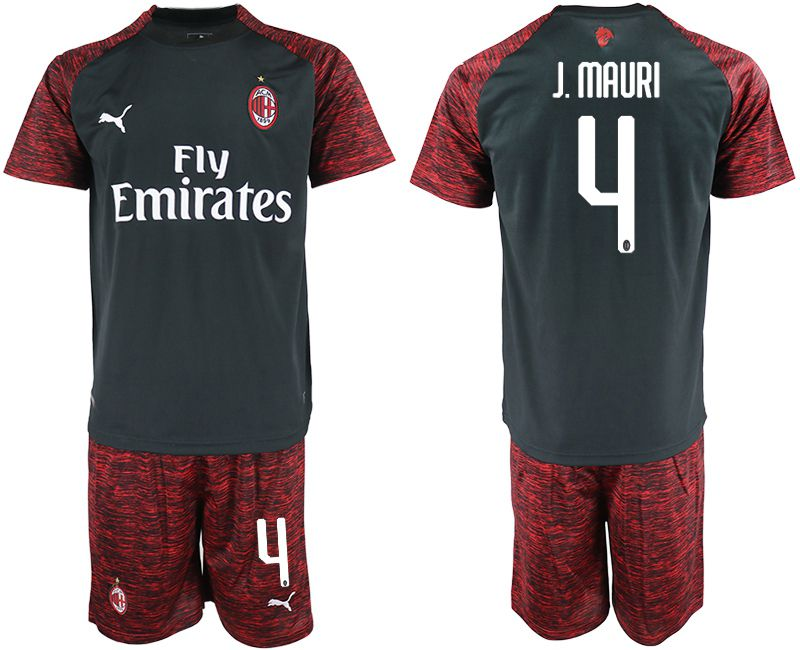 Men 2018-2019 club AC milan Second away 4 black soccer jerseys