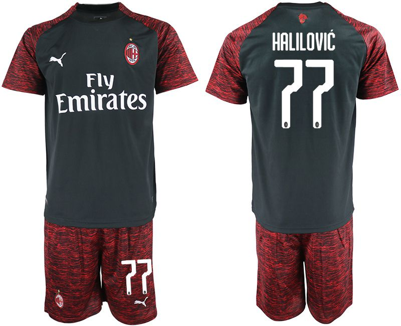 Men 2018-2019 club AC milan Second away 77 black soccer jerseys