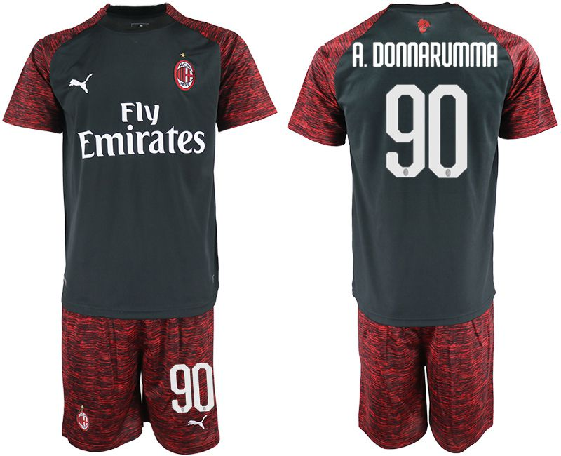 Men 2018-2019 club AC milan Second away 90 black soccer jerseys