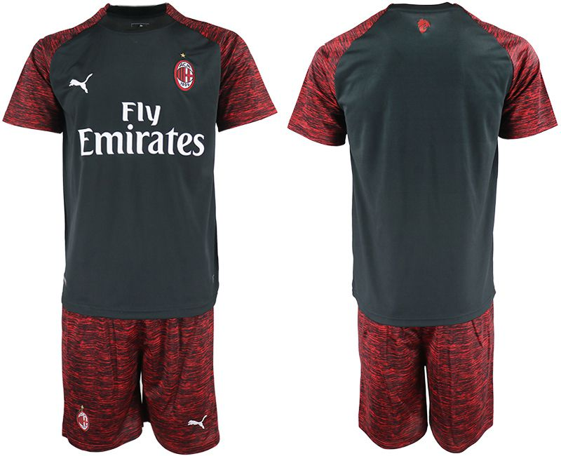 Men 2018-2019 club AC milan Second away blank black soccer jerseys