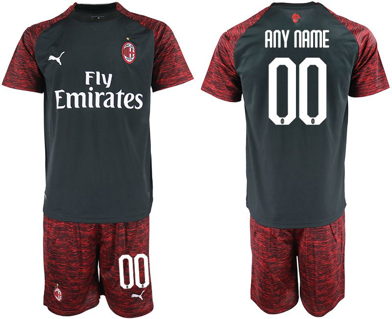 Men 2018-2019 club AC milan Second away customized black soccer jerseys