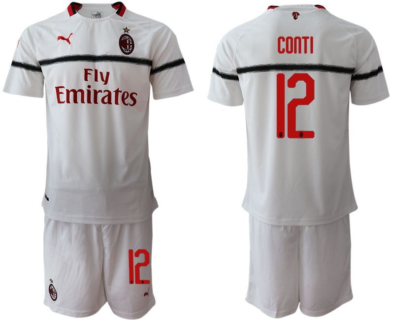 Men 2018-2019 club AC milan away 12 white soccer jerseys
