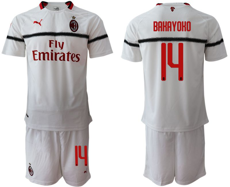 Men 2018-2019 club AC milan away 14 white soccer jerseys