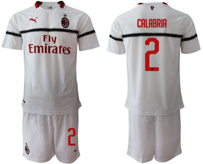 Men 2018-2019 club AC milan away 2 white soccer jerseys