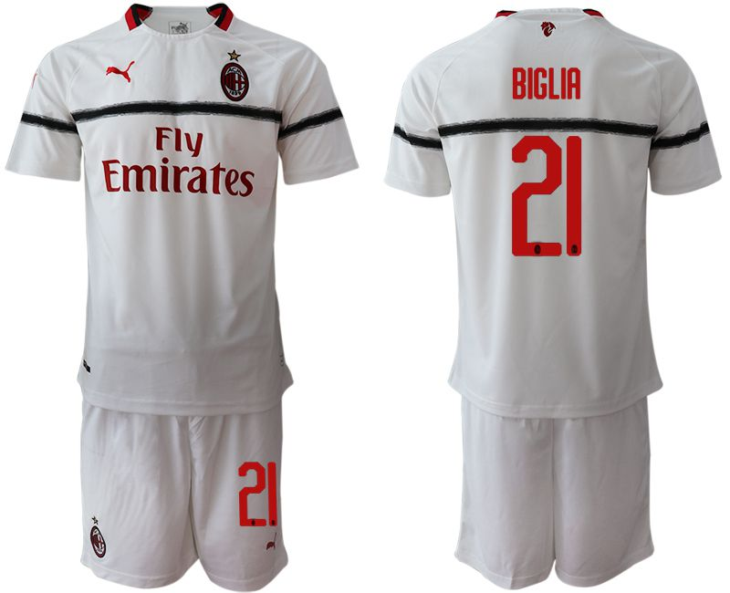 Men 2018-2019 club AC milan away 21 white soccer jerseys
