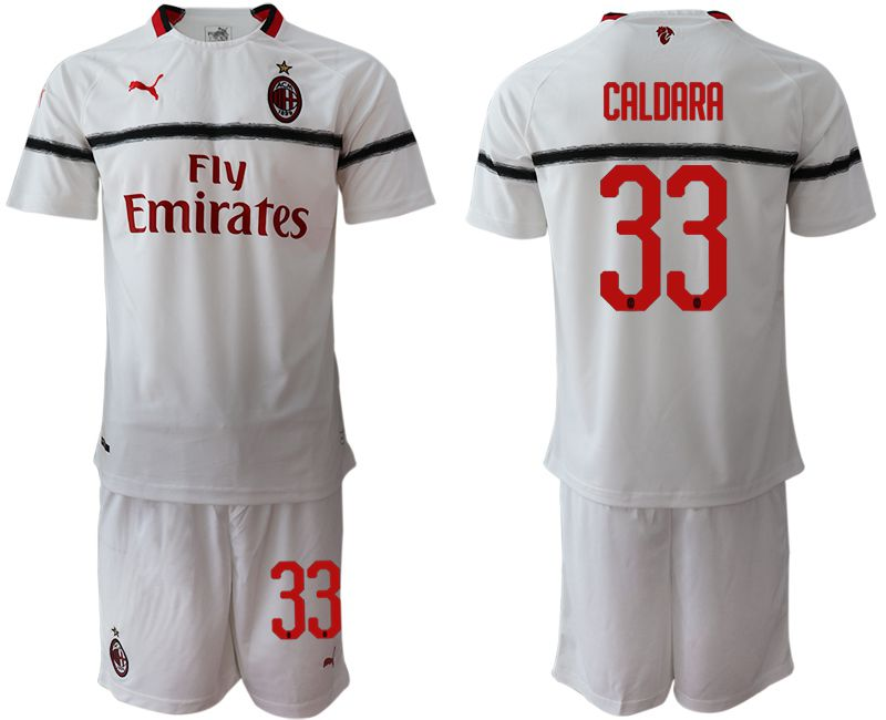 Men 2018-2019 club AC milan away 33 white soccer jerseys