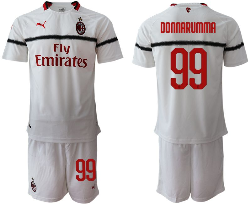 Men 2018-2019 club AC milan away 99 white soccer jerseys