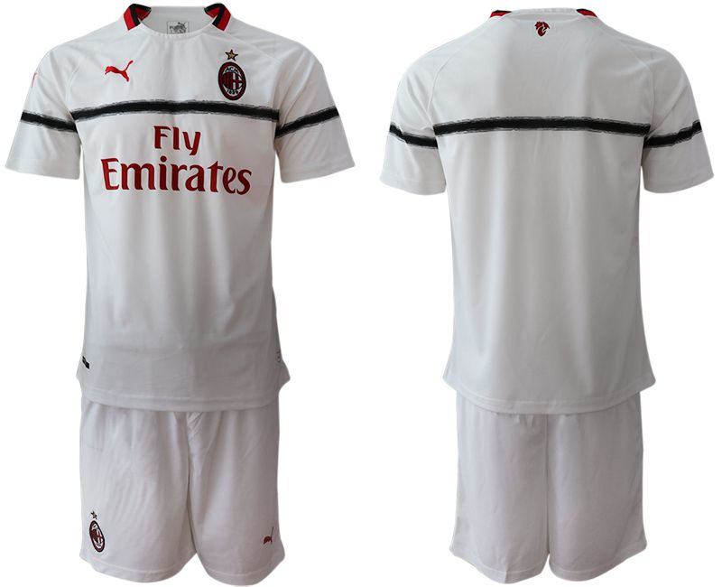 Men 2018-2019 club AC milan away blank white soccer jerseys