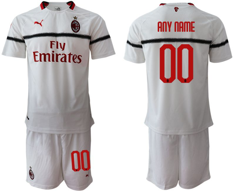 Men 2018-2019 club AC milan away customized white soccer jerseys