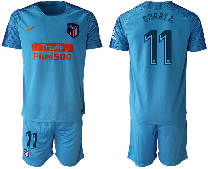 Men 2018-2019 club Atletico Madrid away 11 blue soccer jersey