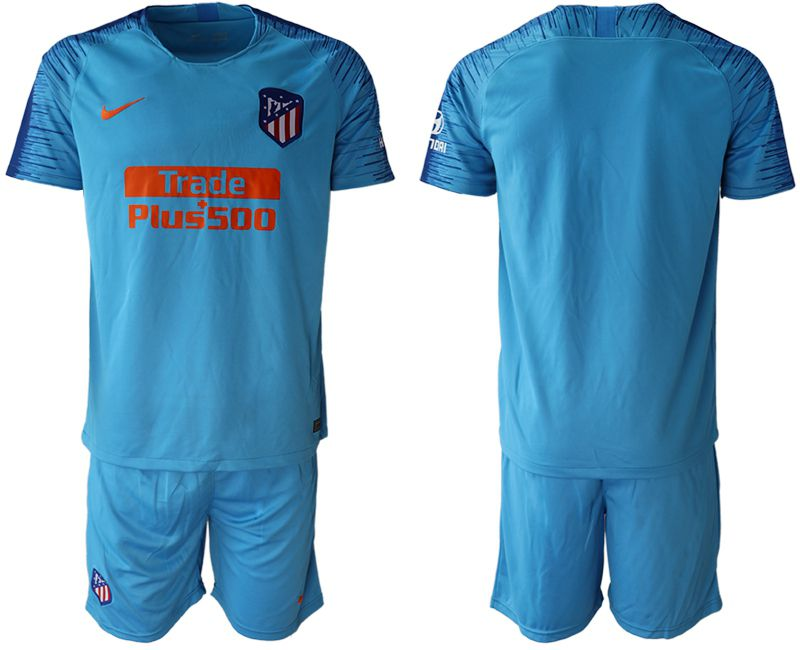 Men 2018-2019 club Atletico Madrid away blank blue soccer jersey