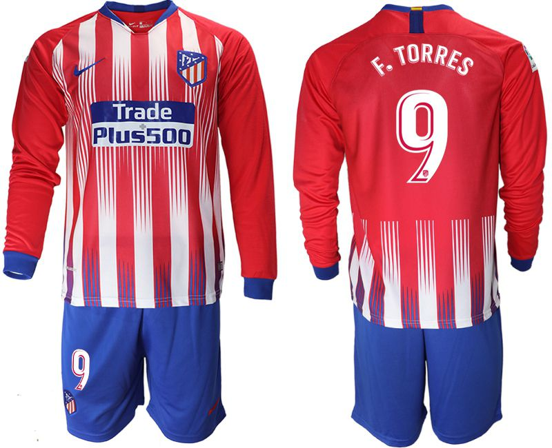 Men 2018-2019 club Atletico Madrid home Long sleeve 9 red soccer jersey