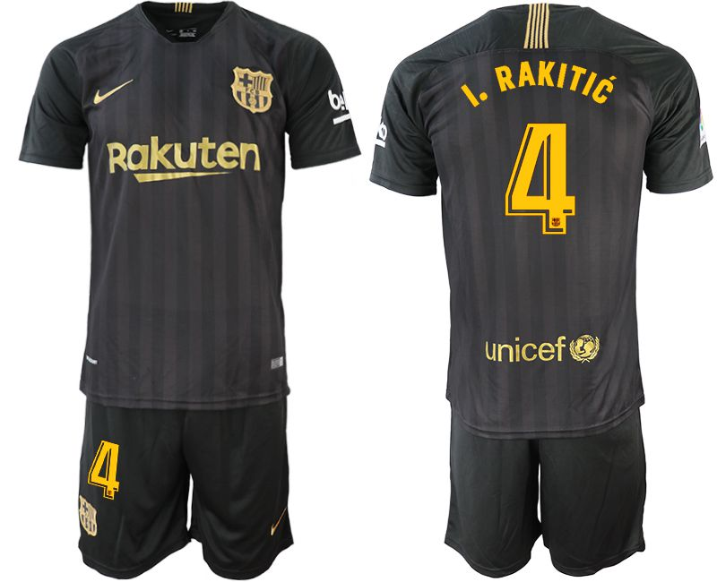 Men 2018-2019 club Barcelona Black training suit 4 black soccer jerseys