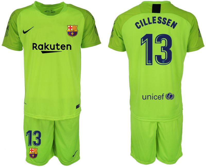 Men 2018-2019 club Barcelona Goalkeeper 13 fluorescent green soccer jersey