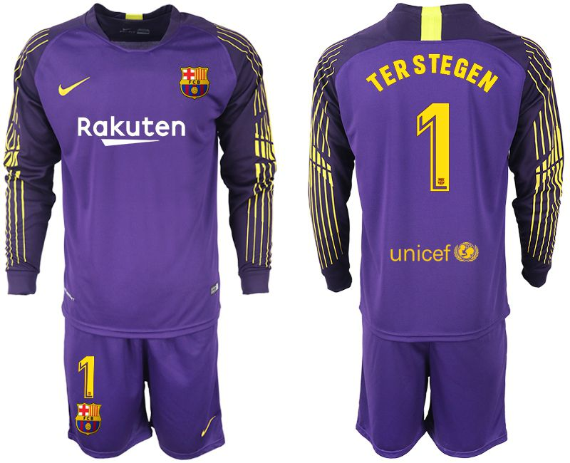 Men 2018-2019 club Barcelona Goalkeeper Long sleeve 1 purple Soccer Jerseys