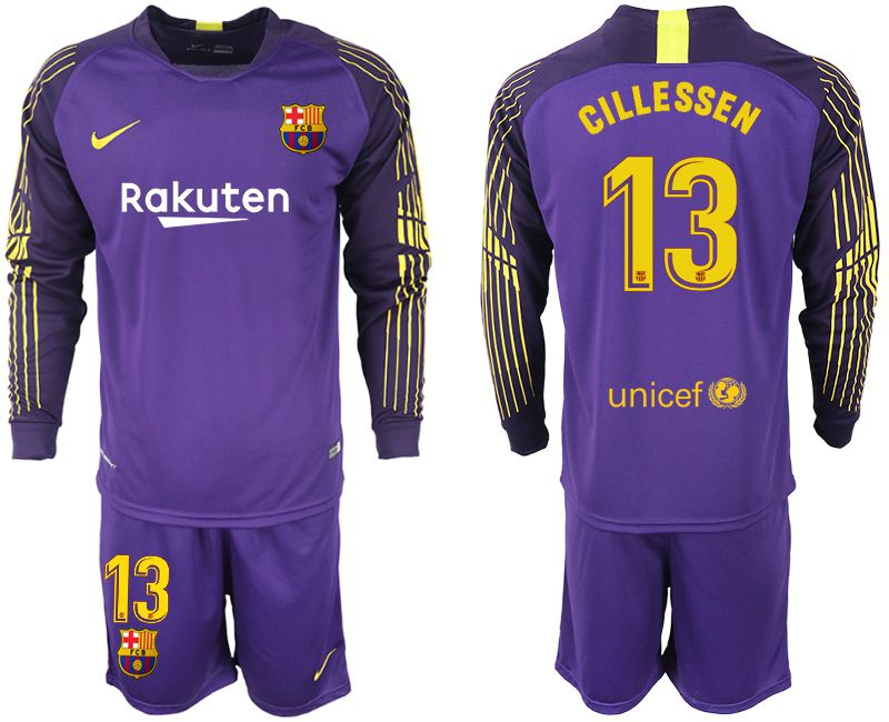 Men 2018-2019 club Barcelona Goalkeeper Long sleeve 13 purple Soccer Jerseys