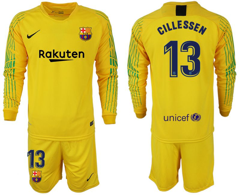 Men 2018-2019 club Barcelona Goalkeeper Long sleeve 13 yellow Soccer Jerseys