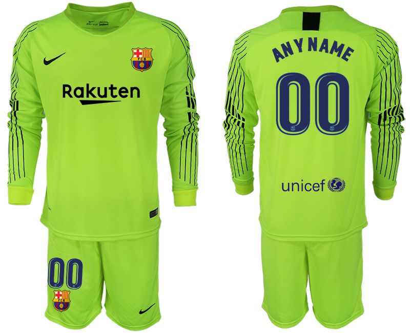 Men 2018-2019 club Barcelona Goalkeeper Long sleeve Fluorescent green customized Soccer Jerseys