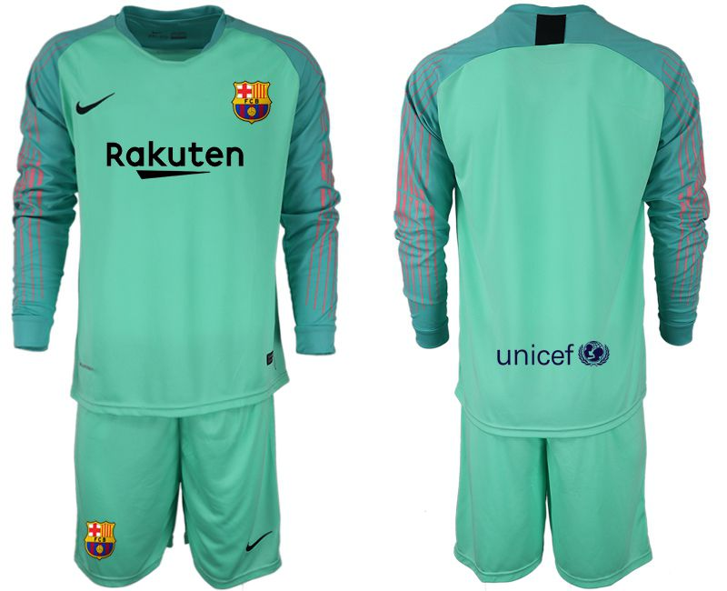 Men 2018-2019 club Barcelona Goalkeeper Long sleeve blank green Soccer Jerseys