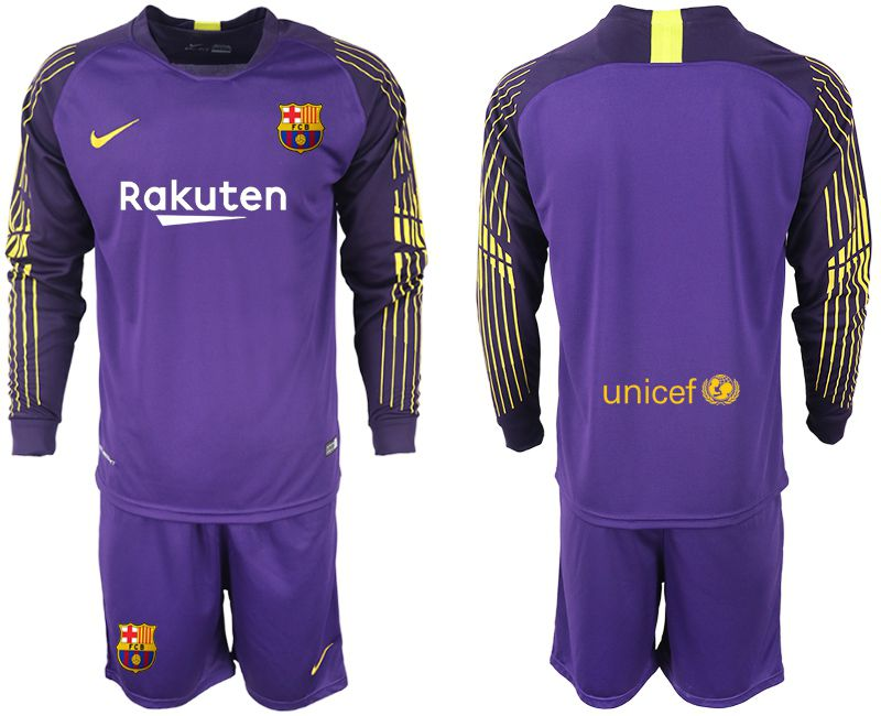 Men 2018-2019 club Barcelona Goalkeeper Long sleeve blank purple Soccer Jerseys