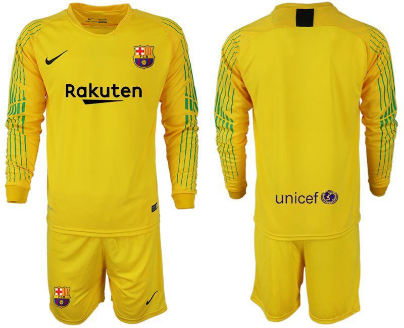 027da1992 ... netherlands men 2018 2019 club barcelona goalkeeper long sleeve blank yellow  soccer jerseys cc707 b0b90