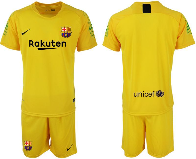 Men 2018-2019 club Barcelona Goalkeeper blank yellow soccer jersey