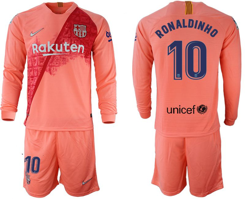 Men 2018-2019 club Barcelona Second away Long sleeve 10 pink Soccer Jerseys