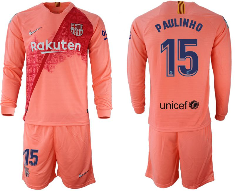 Men 2018-2019 club Barcelona Second away Long sleeve 15 pink Soccer Jerseys