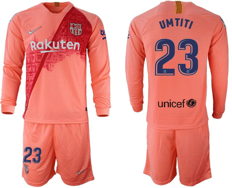 Men 2018-2019 club Barcelona Second away Long sleeve 23 pink Soccer Jerseys