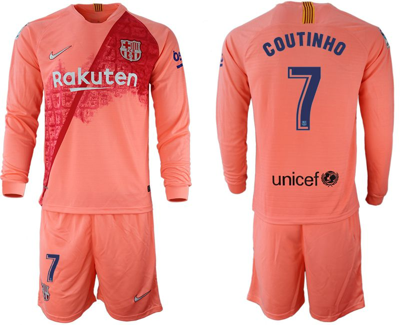 Men 2018-2019 club Barcelona Second away Long sleeve 7 pink Soccer Jerseys