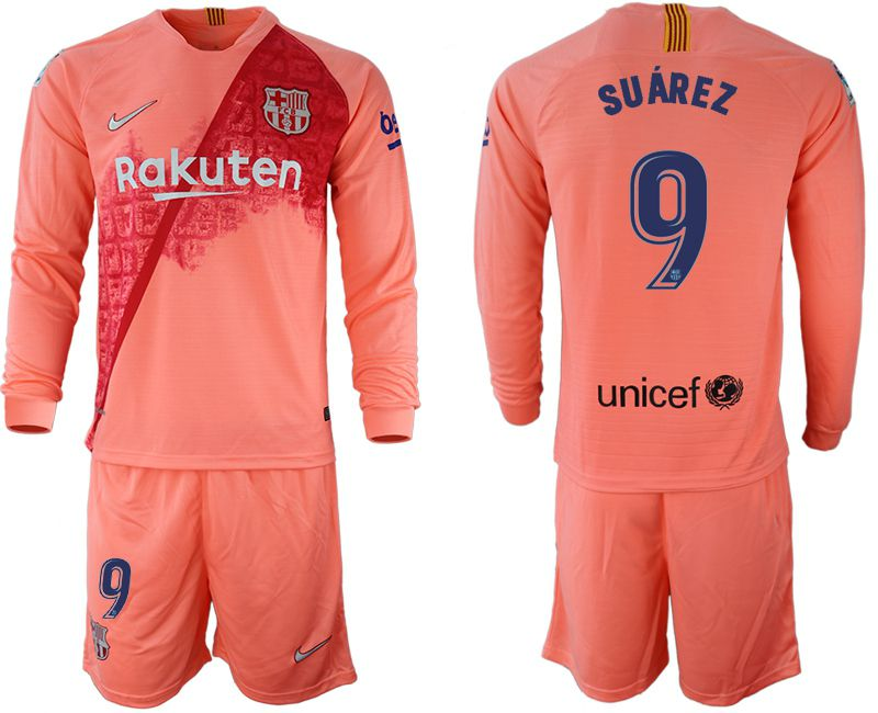 Men 2018-2019 club Barcelona Second away Long sleeve 9 pink Soccer Jerseys