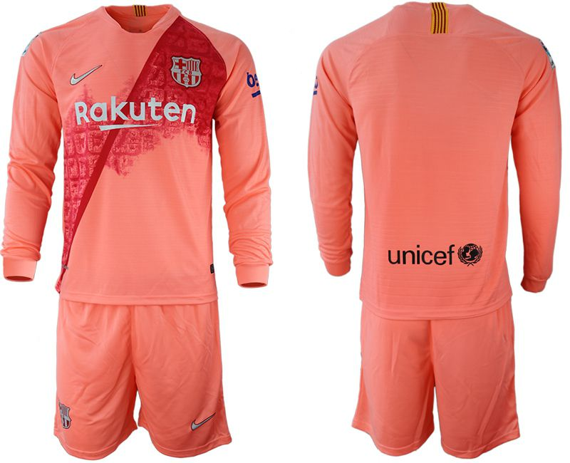 Men 2018-2019 club Barcelona Second away Long sleeve blank pink Soccer Jerseys