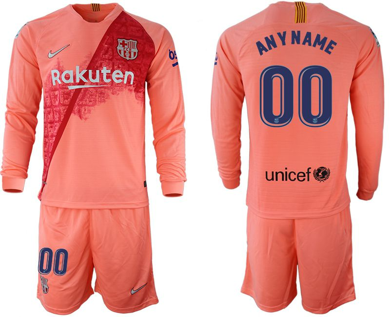 Men 2018-2019 club Barcelona Second away Long sleeve customized pink Soccer Jerseys