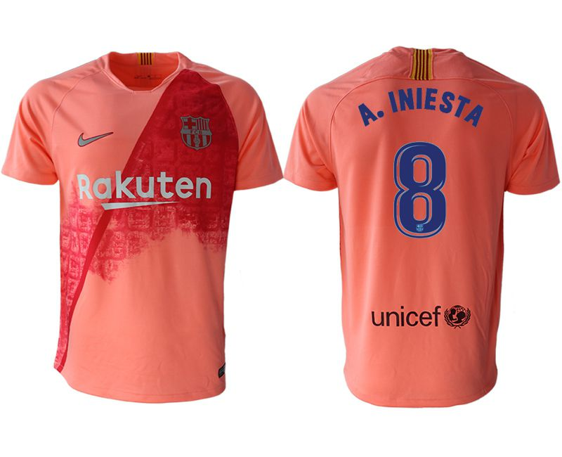 Men 2018-2019 club Barcelona Second away aaa version 8 pink Soccer Jerseys
