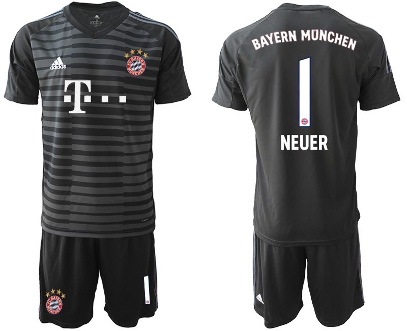 Men 2018-2019 club Bayern Munich Goalkeeper 1 black Soccer Jerseys