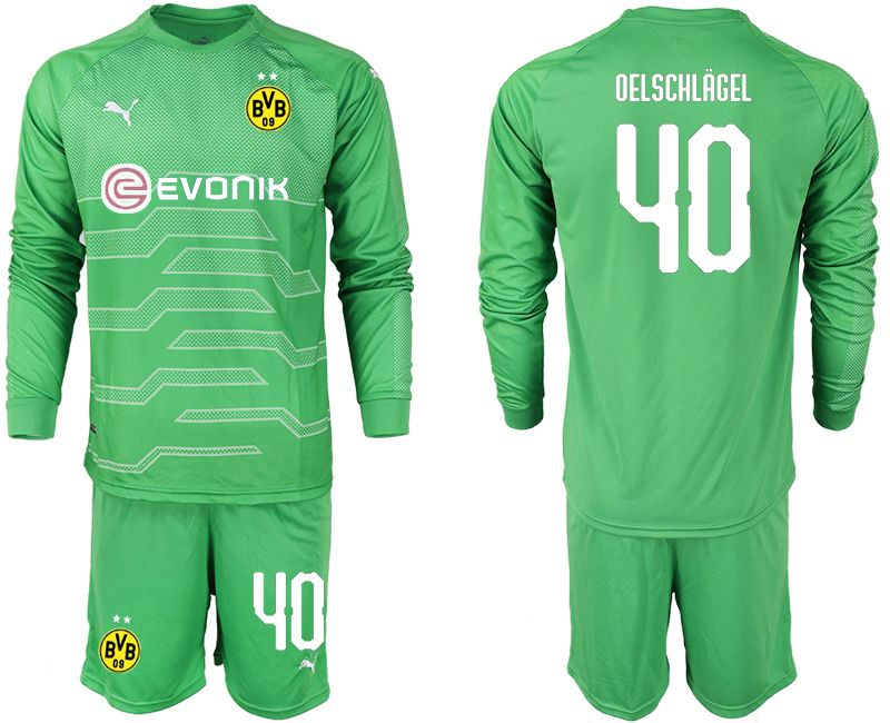Men 2018-2019 club Borussia Dortmund Goalkeeper Long sleeve 40 green Soccer Jerseys