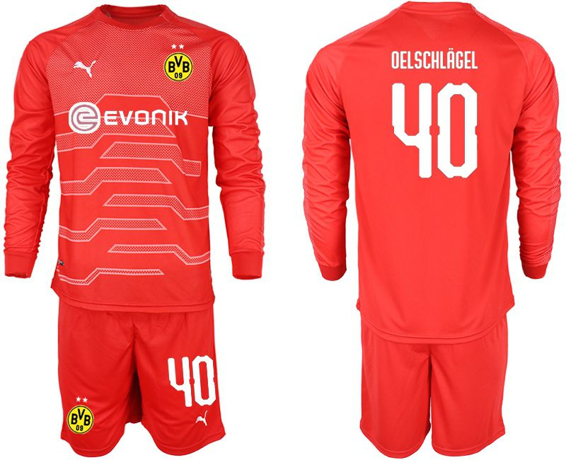Men 2018-2019 club Borussia Dortmund Goalkeeper Long sleeve 40 red Soccer Jerseys